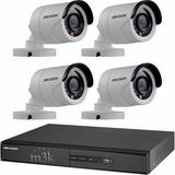 Kit Seguridad Hikvision 4 + 4 Camaras 1mp Exterior