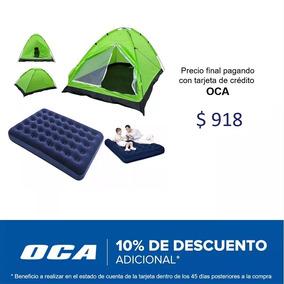 Carpa Para 4 Personas + Colchón Inflable De 2 Plazas Oferta