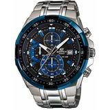 Reloj Casio Edifice Ef539 Azul, Cromado En Stock !!!