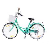 Bicicleta Dama Rodado 26 Canasto Luz Cambios Shimano Parrill