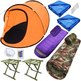 Set Camping Carpa +2 Sobres +2 Lonas +2 Banco + Led - El Rey