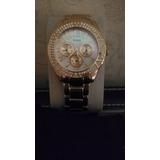 Reloj Guess Bañado En Oro 18 K Alemán Con Circonias Y Fondo