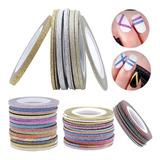 Cintas Decorativas Para Uñas Adhesivas Nail Art Brillo 6mts!