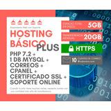 Alojamiento Web Hosting Básico Plus Linux, Cpanel Por Un Año