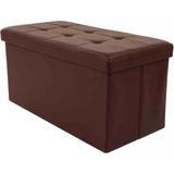 Baúl Puff Plegable Eco Cuero Color Chocolate O Negro 7711