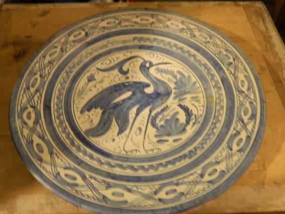 Plato Porcelana - Decorado A Mano- Para Colgar D: 32 Cm
