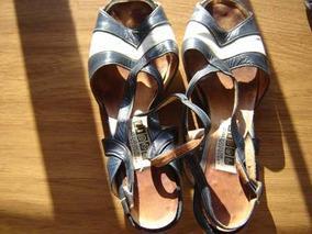 Muy Lindas!! Sandalias Color Azul Y Blanco Talle 39