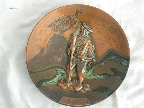 Recuerdo Peruano Plato Bronce Repujado Para Colgar D: 19 Cm