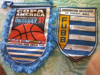 Banderines Basketbol Copa America Uruguay 97 Y Fub.lote X 2
