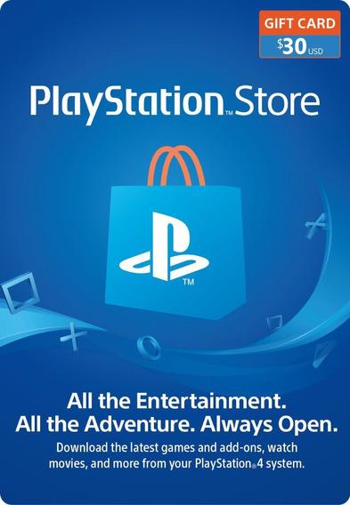 Tarjeta Playstation Network 30 Usd Psn Usa Ps4 | Mvd Store
