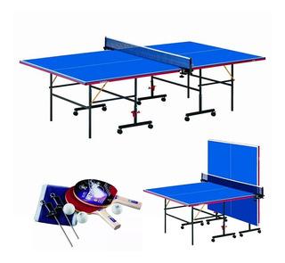 Mesa Ping Pong Profesional Plegable Con Ruedas Y Accesorios