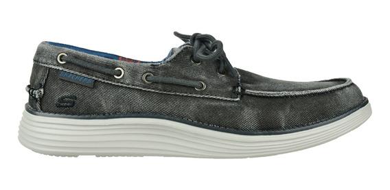 Zapato Casual Acordonado Skechers Status 2.0 Lorano Black -