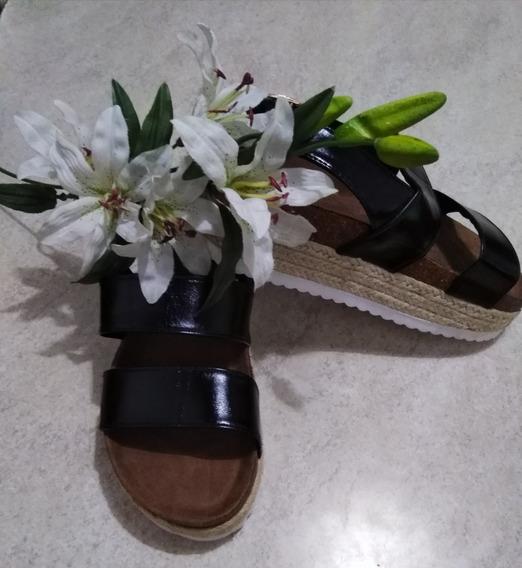 Sandalia Negra Suela Yute $ 480 Tal 37(23cm)38(24cm)39(25cm)