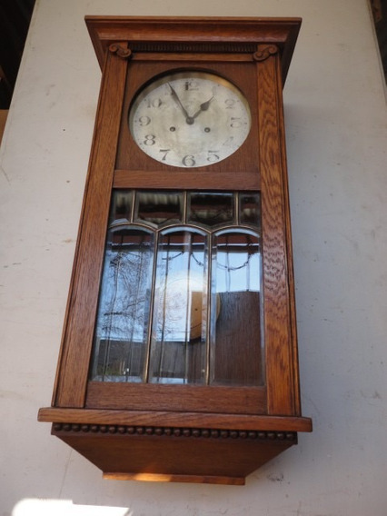 Reloj Antiguo De Pared De Roble En Buen Estado Envios