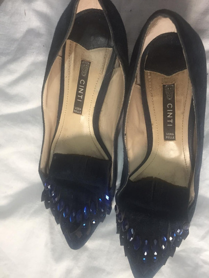 Sandalias Fiesta Dama Cinti Talle 37 Con Strass Color Azul
