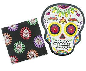 Party Skull 8 Count Placa De 9 Pulgadas Con 16 Paquetes D