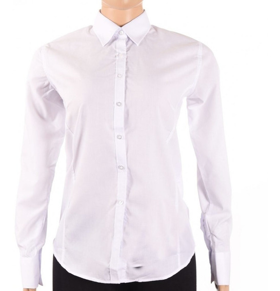 Camisa Vestir Ejecutiva Dama Blanca Manga Larga