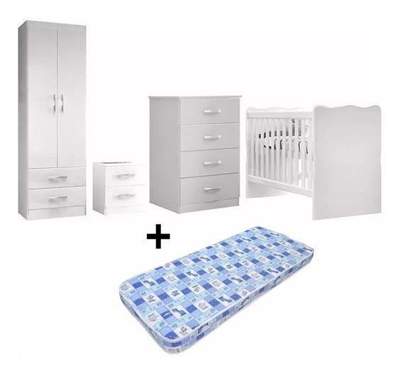 Juego Dormitorio Infantil Blanco Ropero Cuna Cómoda Colchón
