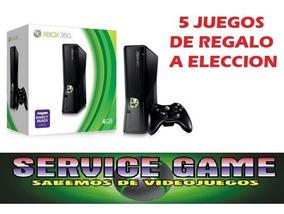 Xbox 360 Refurbished Destrabado + 5 Juegos A Eleccion