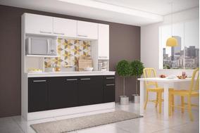 Mueble De Cocina Compacta Napoles Negro Con Blanco