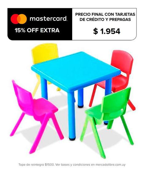 Mesa + 4 Sillas Infantil Plástico Calidad Y Colores - El Rey