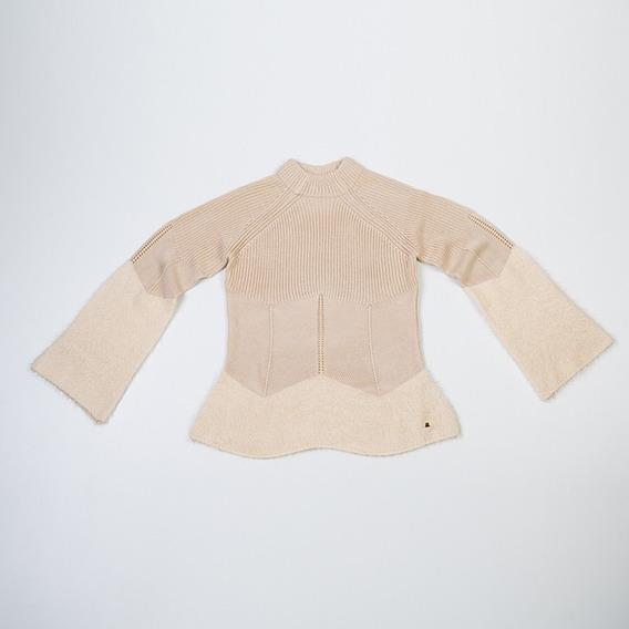 Sweater Mohair Manga Acampanada Beige