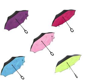 Paraguas Antiviento Inverso Invertido Doble Capa Auto