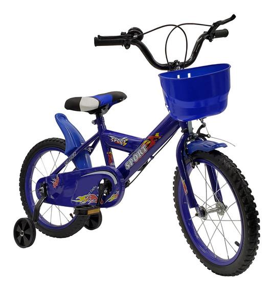 Bicicleta Rodado 16 Con Canasto + Rueditas + Accesorios Colo