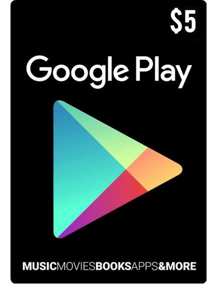 Tarjeta Google Play 5 Usd Usa | Mvd Store