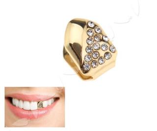 Grillz 24k Oro Plateado Diamante Cobre Diente Tapa Clips Par