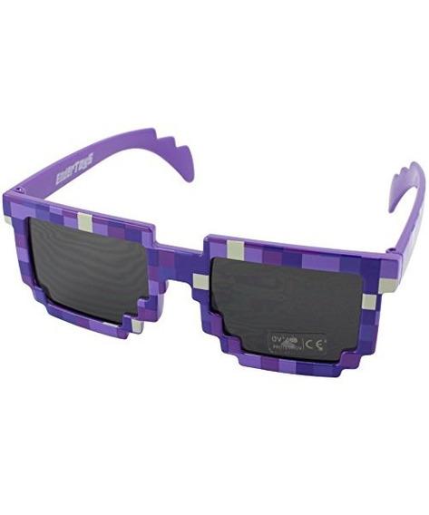 Gafas De Sol Pixel Kids Purple, Novedad Gamer Geek Retro