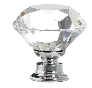 Tirador Vintage Cristal Vidrio Transparente Campoamor Deco
