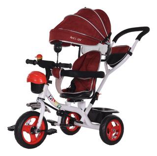 Triciclo Coche 360° Rojo Con Volante Y Guía Flaber