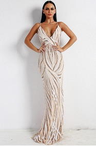 Vestido Largo Elegante Con Lentejuelas Ve37 |por Encargue|