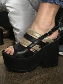 Sandalia Plataforma Cuero De Fiesta