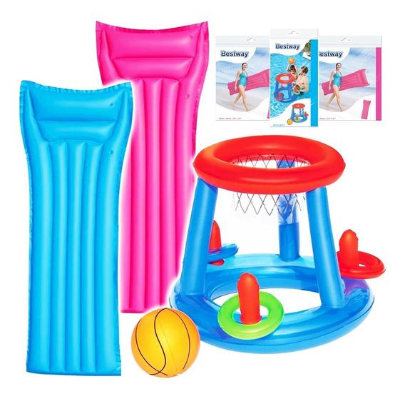 Aro Basket Bestway P/ Piscina + Pelota +2 Colchonetas El Rey