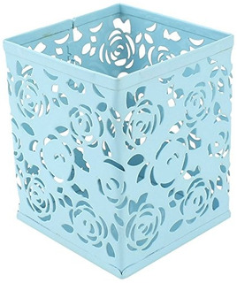 Uxcell Metal Flowers Pattern Hollow Out Pencil Pen Holder