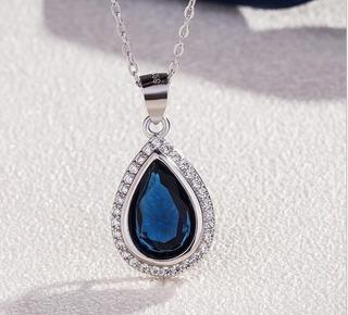 2,2 Ct Piedra Preciosa Zafiro Azul 925 Plata Esterlina Coraz