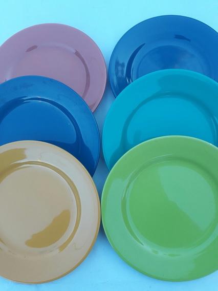 Platos De Lunch Porcelana Olmos Impecable Estado