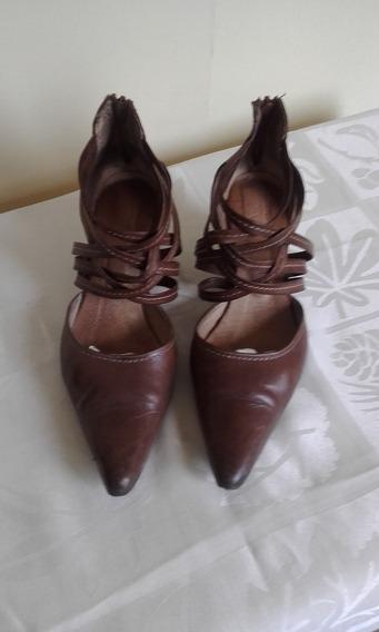 Ml Zapatos 100% Cuero Taco Corrido