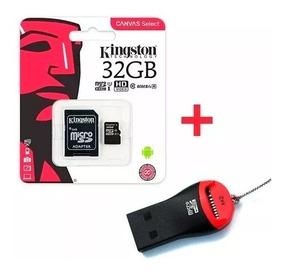 Memoria Micro Sd Kingston 32gb Canvas 80 M/s + Pendrive