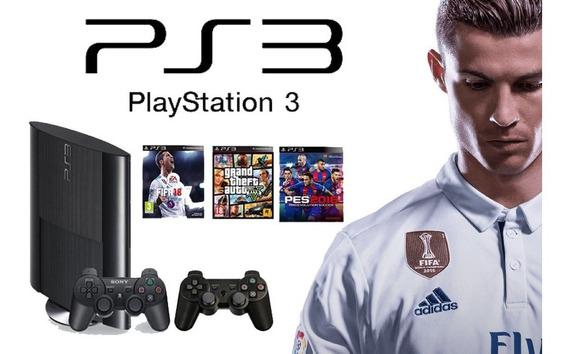 Ps3 500gb + 2 Joystick+ 50 Juegos Originales Con Fifa 19