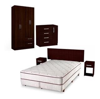 Juego Dormitorio Comoda Respaldo Ropero 4 Puertas