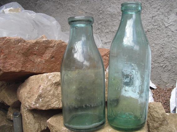 Antiguas Botellas De Leche Conaprole Bocona Y Inlaca