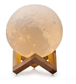 Velador Luz Led Lampara Luna Llena 3d Grande Base Madera
