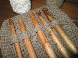 Agujas Crochet En Madera Artesanales $120 C/u