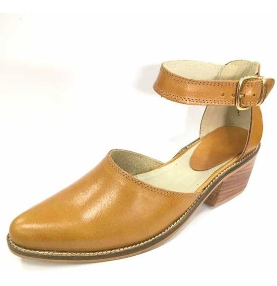Calzado Zapato Miel Dama Nelly De Cuero Del 35 Al 40