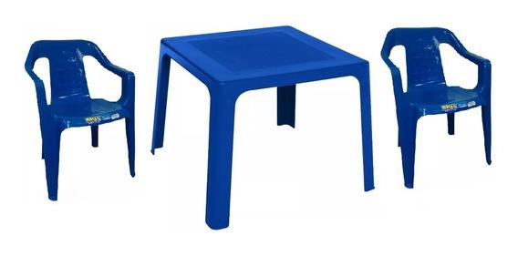 Mesa De Plástico + 2 Sillas Color Azul Niño Rimax