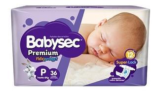 Pañales Babysec Premium Hiper - P - Funda 36/6