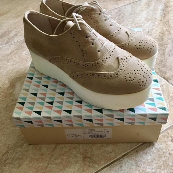 Zapato Plataforma Rise Beige Paddock, Talle 38